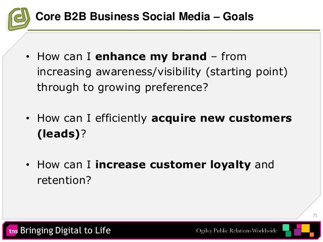 Bringing Digital to Life 71 Core B2B Business Social Media – Goals • How can I enhance my brand – from increasing awarenes...