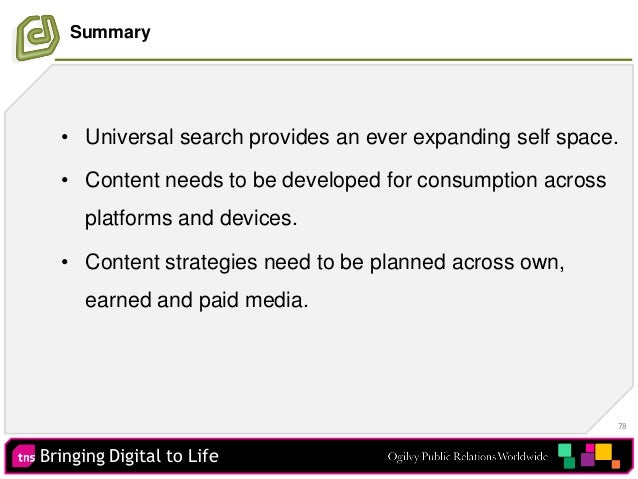 Bringing Digital to Life 78 Summary • Universal search provides an ever expanding self space. • Content needs to be develo...