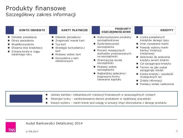 Audyt Bankowości Detalicznej 2014 © TNS 2014 Produkty finansowe Szczegółowy zakres informacji 3  Odsetek posiadaczy  Okr...