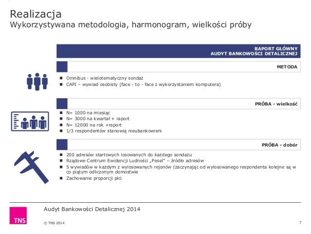 Audyt Bankowości Detalicznej 2014 © TNS 2014 Realizacja Wykorzystywana metodologia, harmonogram, wielkości próby 7 RAPORT ...