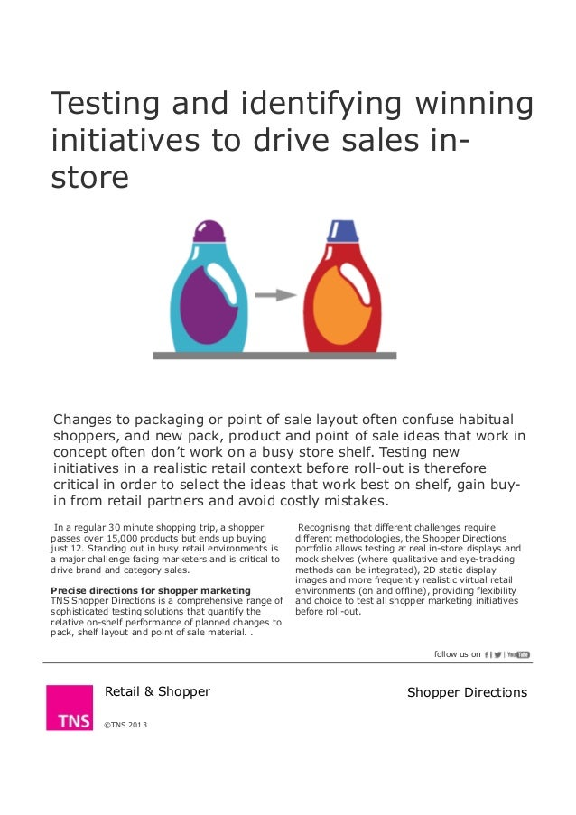 Testing and identifying winninginitiatives to drive sales in-store©TNS 2013Changes to packaging or point of sale layout of...