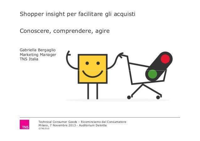 Shopper insight per facilitare gli acquisti Conoscere, comprendere, agire  Gabriella Bergaglio Marketing Manager TNS Itali...