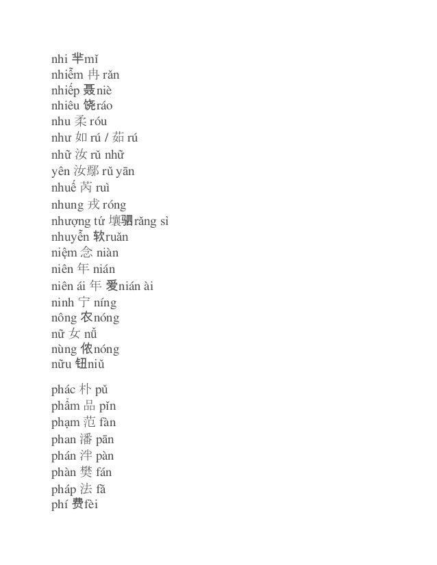 nhi 芈mǐ nhiễm 冉 rǎn nhiếp 聂 niè nhiêu 饶 ráo nhu 柔 róu như 如 rú / 茹 rú nhữ 汝 rǔ nhữ yên 汝鄢 rǔ yān nhuế 芮 ruì nhung 戎 róng n...