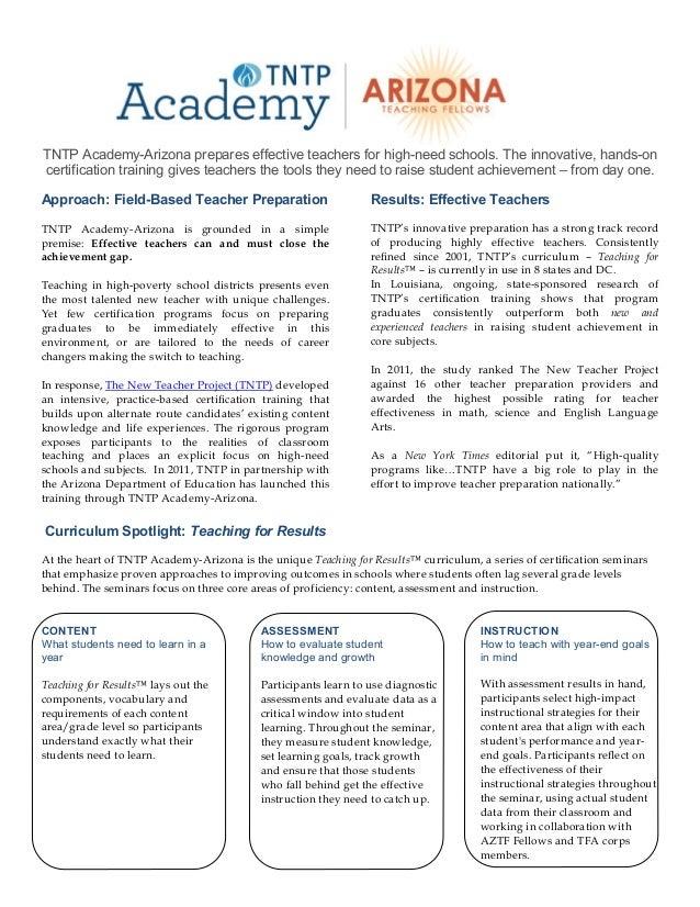 TNTP Academy-Arizona prepares effective teachers for high-need schools. The innovative, hands-oncertification training giv...