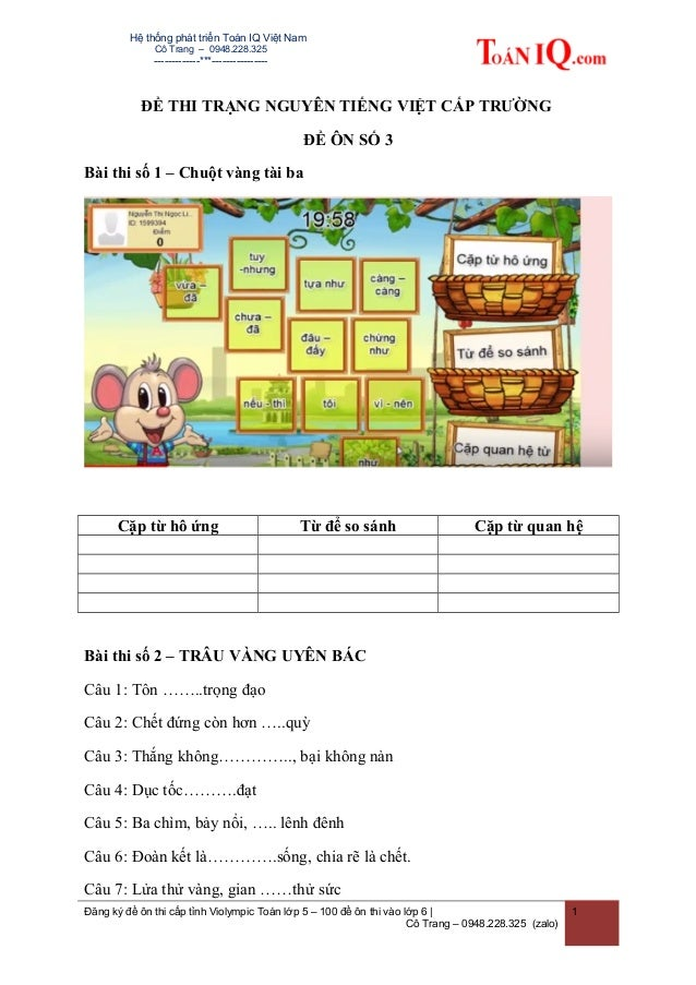 Hệ thống phát triển Toán IQ Việt Nam Cô Trang – 0948.228.325 -------------***---------------- ĐỀ THI TRẠNG NGUYÊN TIẾNG VI...