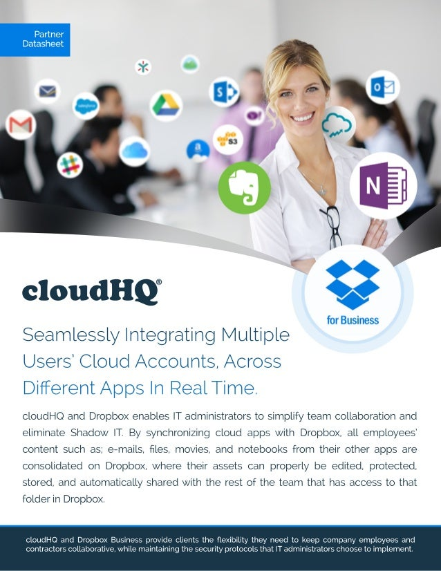 cloudHQ Partner Datasheet SeamlesslyIntegratingMultiple Users'CloudAccounts,Across DifferentAppsInRealTime. cloudHQ andDrop...