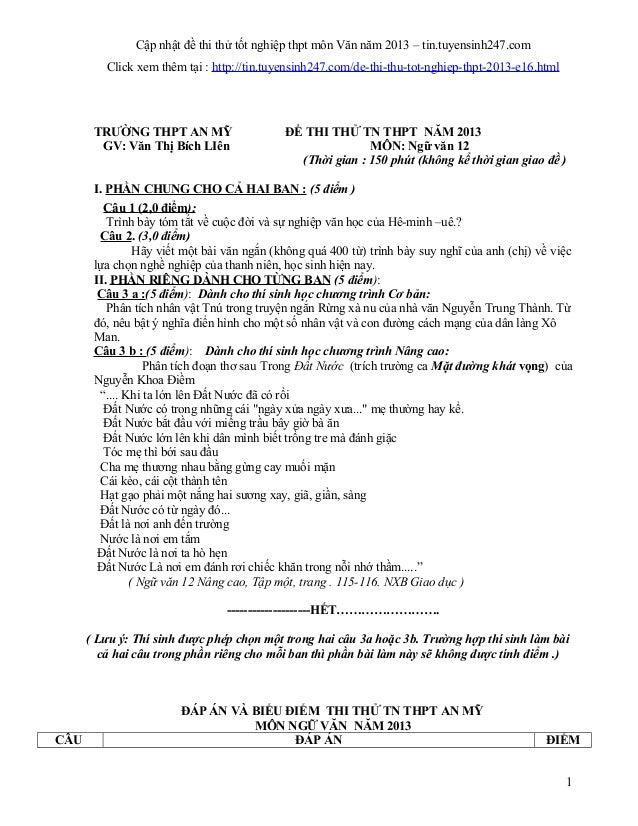 Cập nhật đề thi thử tốt nghiệp thpt môn Văn năm 2013 – tin.tuyensinh247.comClick xem thêm tại : http://tin.tuyensinh247.co...