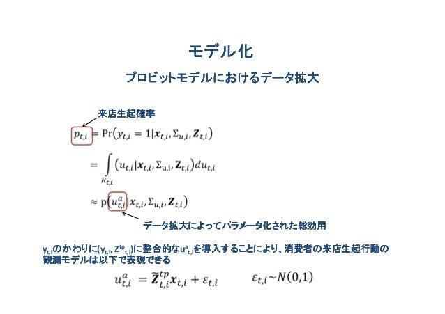 モデル化            プロビットモデルにおけるデータ拡大        来店生起確率               データ拡大によってパラメータ化された総効用yt,iのかわりに t,i, Ztpt,i)に整合的な at,iを導入すること...