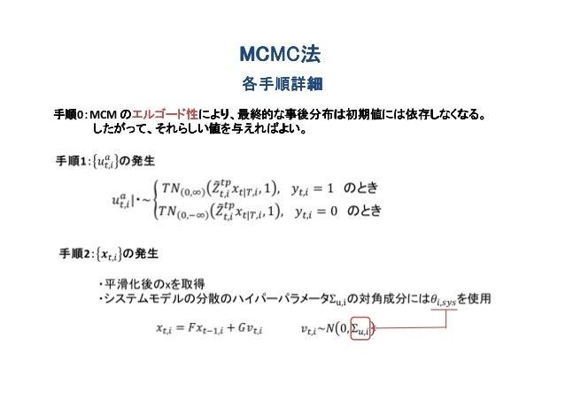 MCMC法                 MCMC法                 各手順詳細手順 :MCM のエルゴード性により、最終的な事後分布は初期値には依存しなくなる。手順0:     エルゴード性により、最終的な事後分布は初期値に...