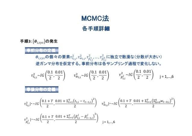 MCMC法          MCMC法          各手順詳細事前分布の定義                         j = 1,…,6事後分布の定義             j = 1,…,6