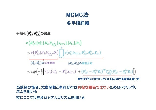 MCMC法               MCMC法               各手順詳細                  例ではブランドカテゴリが2以上あるので多変量正規分布                  例ではブランドカテゴリが 以上...