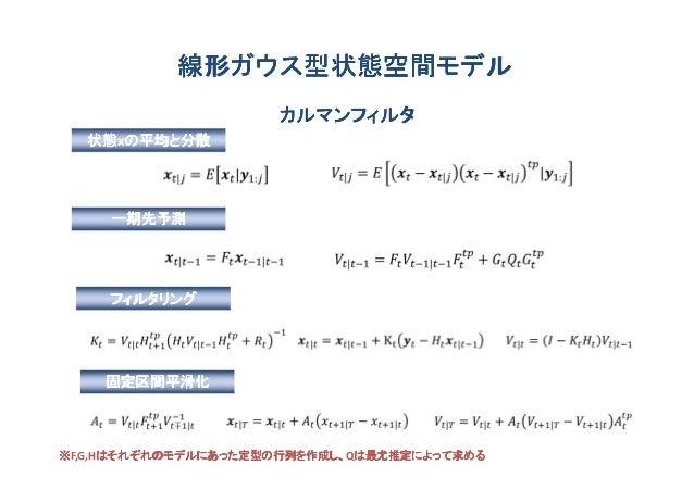線形ガウス型状態空間モデル                     カルマンフィルタ  状態xの平均と分散  状態 の平均と分散     一期先予測     フィルタリング    固定区間平滑化※F,G,Hはそれぞれのモデルにあった定型の行列を...