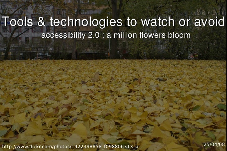 Tools  technologies to watch or avoid               accessibility 2.0 : a million flowers bloom     http://www.flickr.com/...