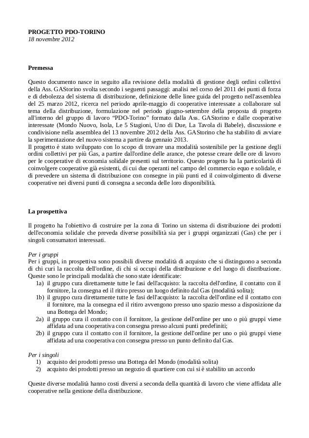 PROGETTO PDO-TORINO 18 novembre 2012 Premessa Questo documento nasce in seguito alla revisione della modalità di gestione ...