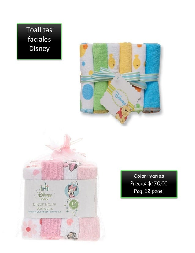 Toallitas faciales Disney Color: varios Precio: $170.00 Paq. 12 pzas.