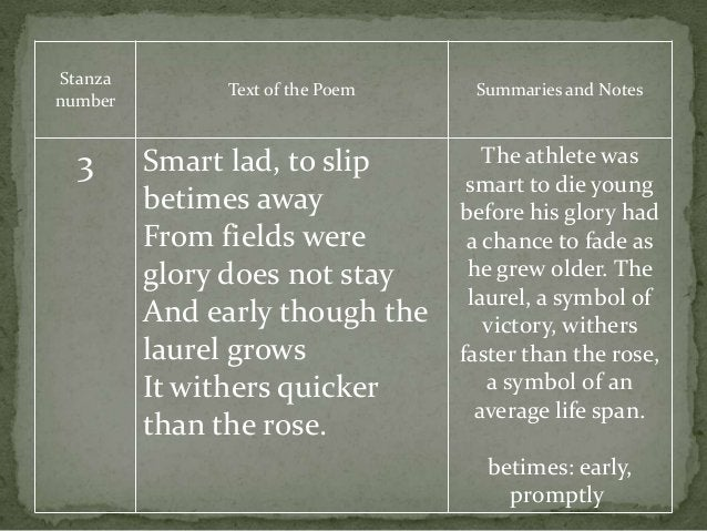 Stanza number Text of the Poem Summaries and Notes 3 Smart lad, to slip betimes away From fields were glory does not stay ...