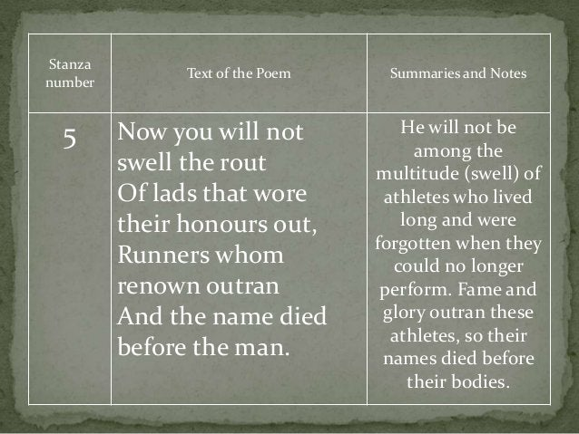 Stanza number Text of the Poem Summaries and Notes 5 Now you will not swell the rout Of lads that wore their honours out, ...