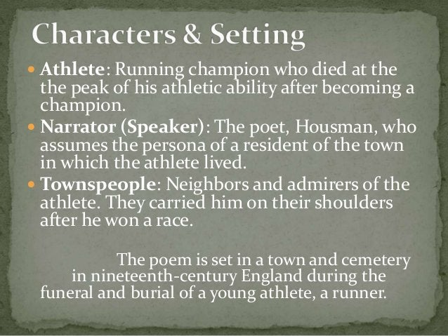 Athlete: Running champion who died at the the peak of his athletic ability after becoming a champion.  Narrator (Speake...