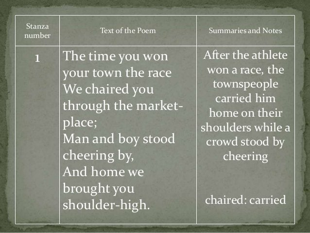 Stanza number Text of the Poem Summaries and Notes 1 The time you won your town the race We chaired you through the market...