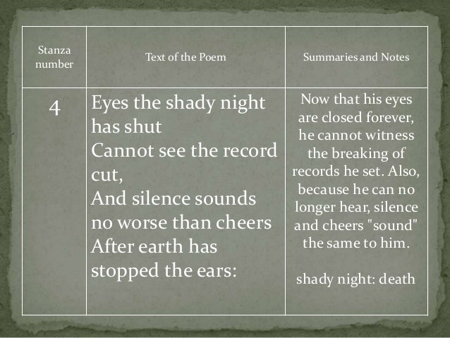 Stanza number Text of the Poem Summaries and Notes 4 Eyes the shady night has shut Cannot see the record cut, And silence ...