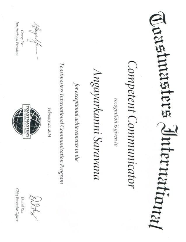 Toastmasters Competent Communicator Award