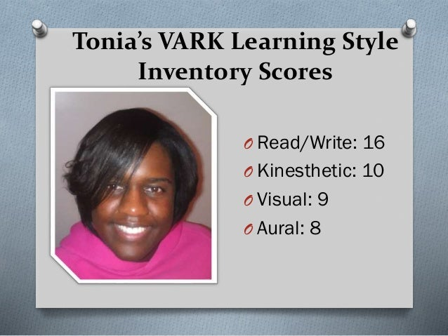 vark learning assessment The vark learning style assessment was designed by neil fleming in 1987 vark stands for visual, aural, read/write, and kinesthetic sensory modalities that.