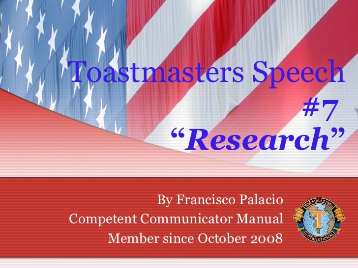 Speech 2 toastmasters competent communicator manual projects