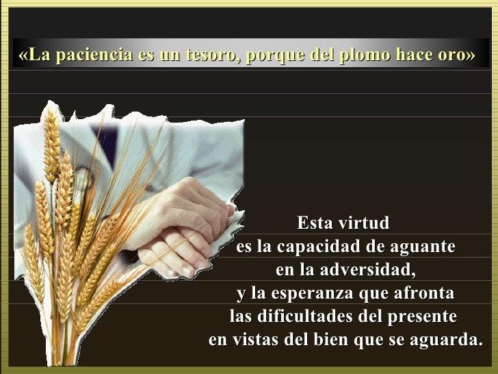 «La paciencia es un tesoro, porque del plomo hace oro»                                 Esta virtud                        ...