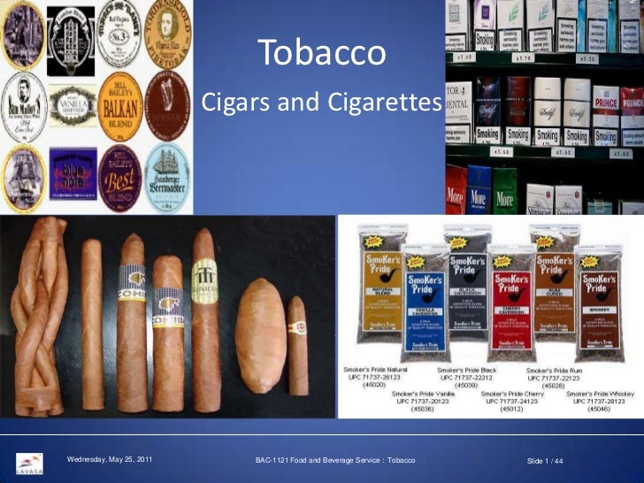 Tobacco <br />Cigars and Cigarettes<br />BAC-1121 Food and Beverage Service : Tobacco<br />Slide 1 / 44<br />Saturday, May...