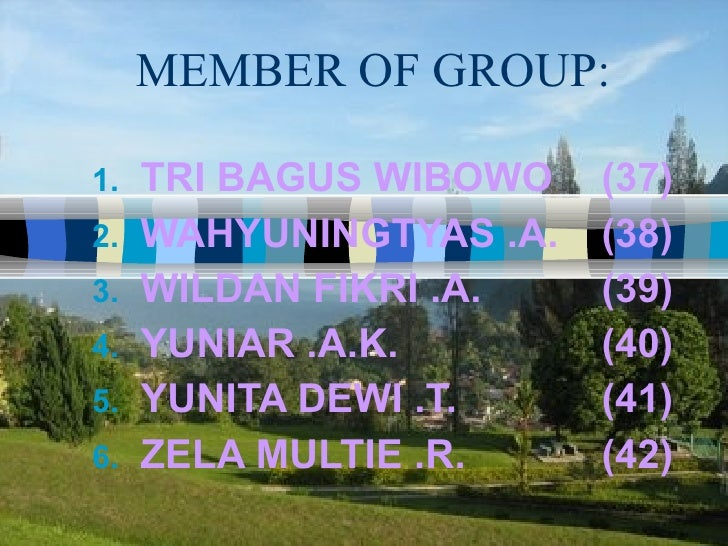 MEMBER OF GROUP: <ul><li>TRI BAGUS WIBOWO (37) </li></ul><ul><li>WAHYUNINGTYAS .A. (38) </li></ul><ul><li>WILDAN FIKRI .A....