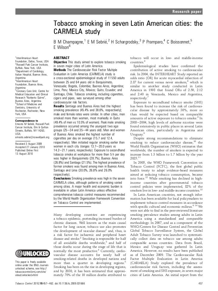 Research paper                                   Tobacco smoking in seven Latin American cities: the                      ...