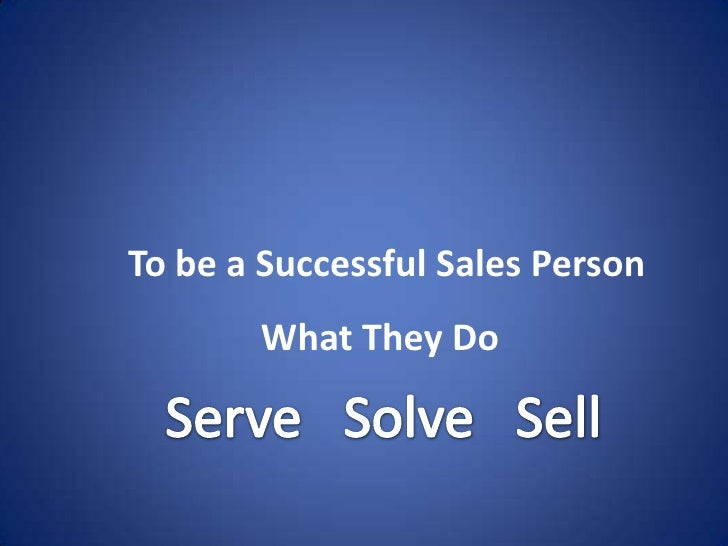 how to become a successful sales person