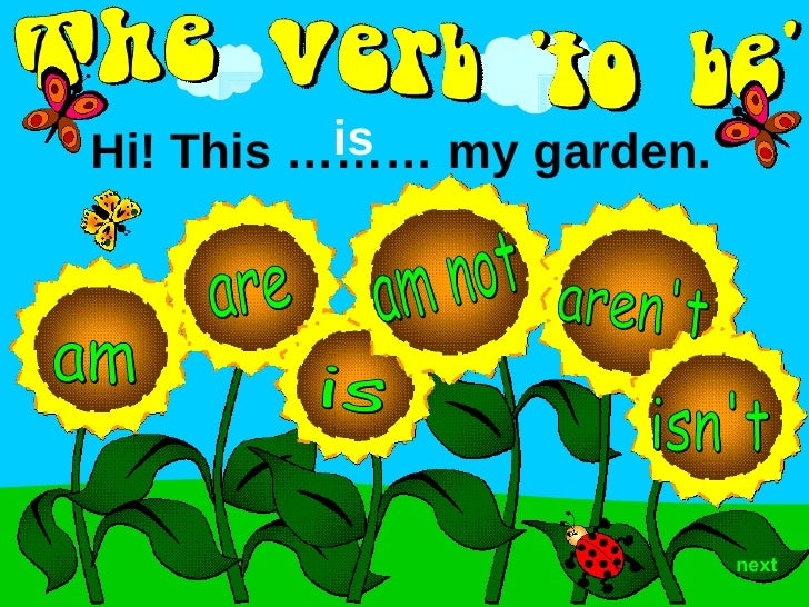 aren't am are is isn't next Hi! This ……… my garden.  is am not