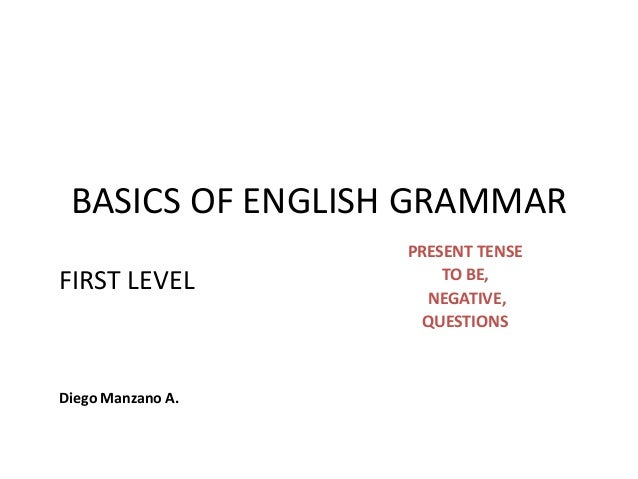 BASICS OF ENGLISH GRAMMAR                   PRESENT TENSE                       TO BE,FIRST LEVEL                     NEGA...