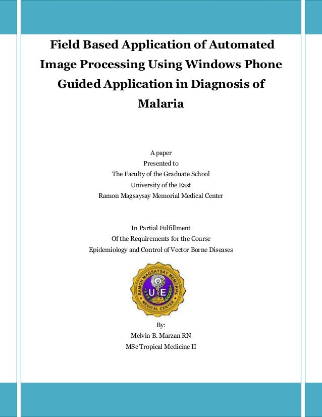 Field Based Application of AutomatedImage Processing Using Windows Phone  Guided Application in Diagnosis of              ...