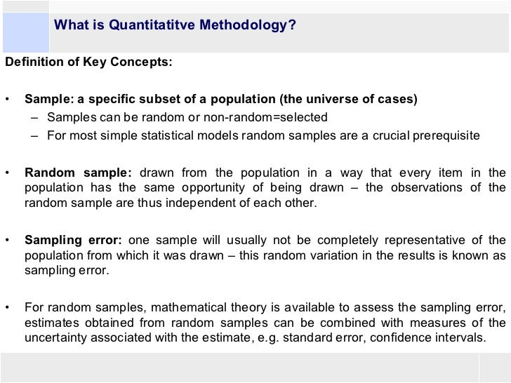 Quantitative research methodology definition