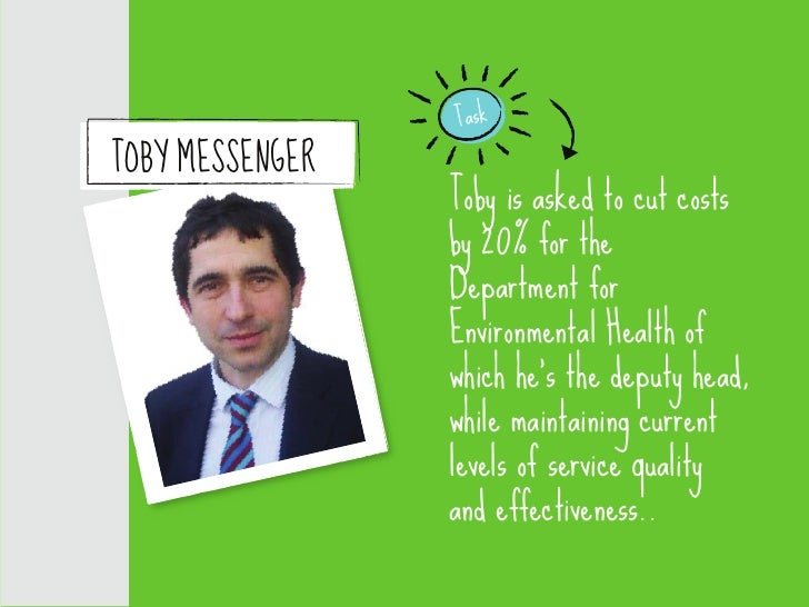Task TOBY MESSENGER                  Toby is asked to cut costs                  by 20% for the                  Departmen...