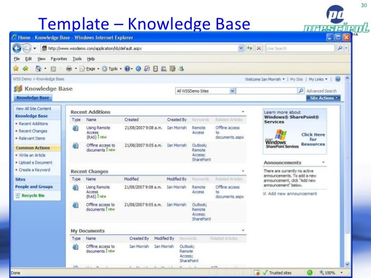 knowledge base template sharepoint 2013 - sharepoint moss 2007 pros cons by toby ward prescient