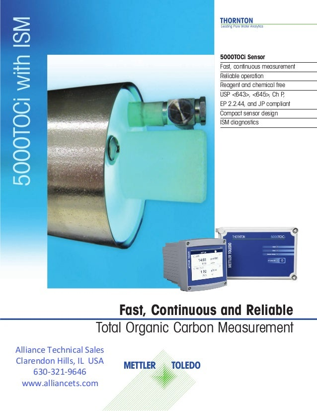 5000TOCi Sensor Fast, continuous measurement Reliable operation Reagent and chemical free USP <643>, <645>, Ch P, 			 EP 2...