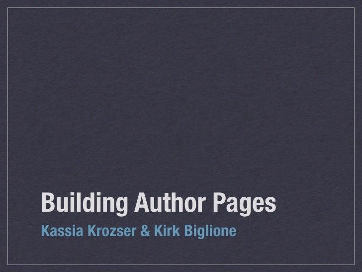 Building Author Pages Kassia Krozser & Kirk Biglione