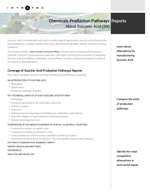 Chemicals Production Pathways About Succinic Acid (SA) Reports Succinic Acid is a dicarboxylic acid used in a wide range o...