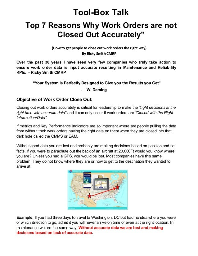 """Tool-Box Talk Top 7 Reasons Why Work Orders are not Closed Out Accurately"""" (How to get people to close out work orders the..."""