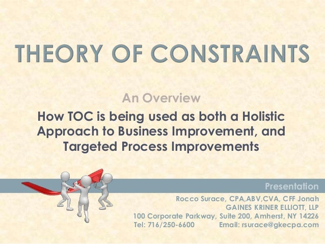 An OverviewHow TOC is being used as both a HolisticApproach to Business Improvement, andTargeted Process ImprovementsRocco...