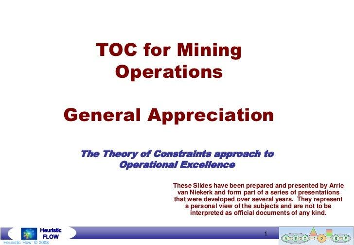 TOC for Mining                                  Operations                             General Appreciation               ...