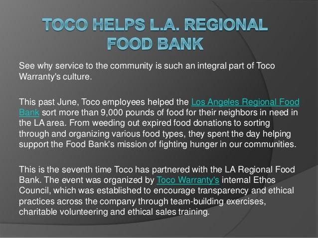Toco Helps La Regional Food Bank