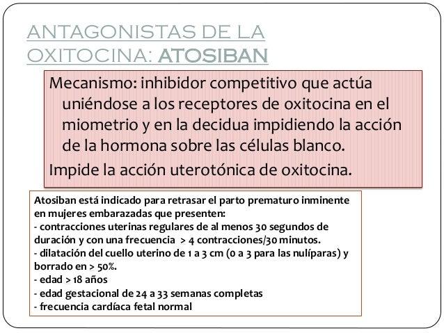 ANTAGONISTAS DE LA OXITOCINA: ATOSIBAN Mecanismo: inhibidor competitivo que actúa uniéndose a los receptores de oxitocina ...