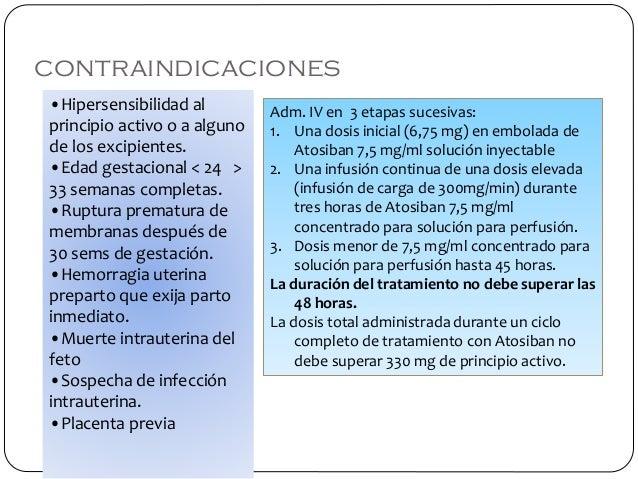 contraindicaciones •Hipersensibilidad al principio activo o a alguno de los excipientes. •Edad gestacional < 24 > 33 seman...
