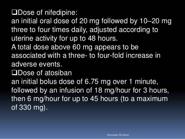 Procardia Dose For Contractions