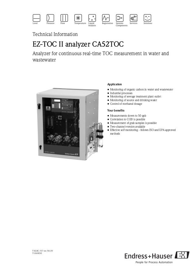 TI424C/07/en/06.0971060850Technical InformationEZ-TOC II analyzer CA52TOCAnalyzer for continuous real-time TOC measurement...