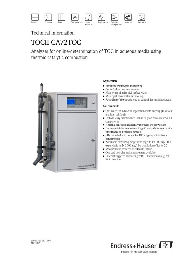 TI448C/07/en/10.0971098868Technical InformationTOCII CA72TOCAnalyzer for online-determination of TOC in aqueous media usin...